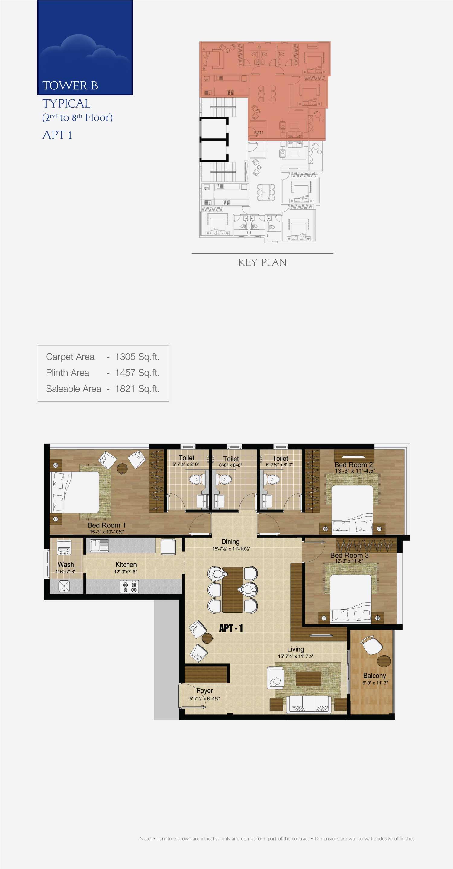 Premium Flats And Apartments In Valasaravakkam Chennai Kiruba Cirrus Electrical Wiring Diagram 3 Bedroom Flat Tower B Typical Apt1