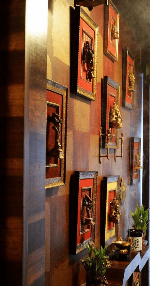 Pooja room on a wall